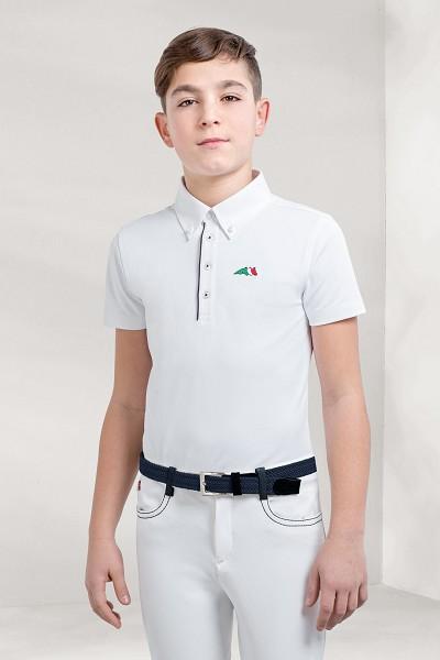 ◆ SALE!◆ EQUILINE Justin・エクイライン ジュニア競技用シャツ(ホワイト/男の子用10-11)