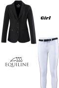 ◆ SALE!◆ EQUILINE ジュニア競技用ウエア2点セット(エクイライン・女の子用/10-11)