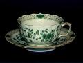 マイセン(Meissen)インドの華 リッチグリーン ティーカップ&ソーサー