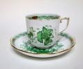インドの華 グリーン コーヒーカップ&ソーサー