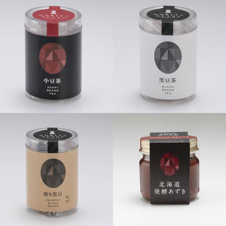 小豆茶・黒豆茶・煎り黒豆・発酵あずき MORITABEANSお試し4種セット 各2個セット(送料無料) 代引き不可 日時指定不可