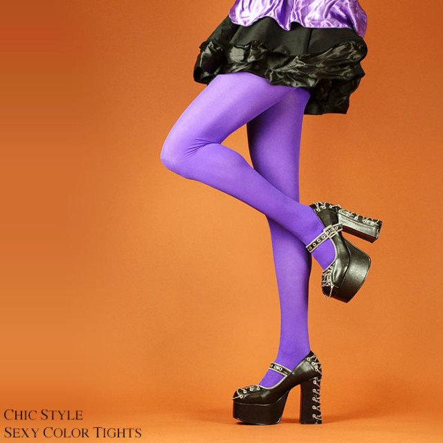 カラータイツパープル シンプルパンティストッキングパンスト紫タイツ