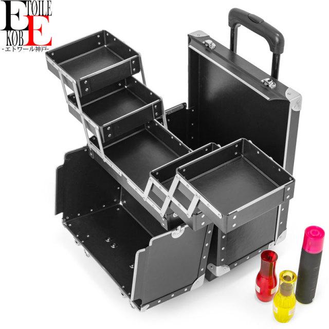 メイクボックス/プロ仕様キャリータイプで持ち運び便利コロ付き超大型メイクボックス