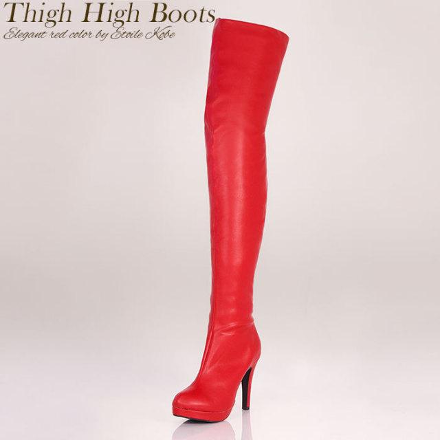 赤色がセクシーでワイルドなレッドカラー美脚サイハイブーツ