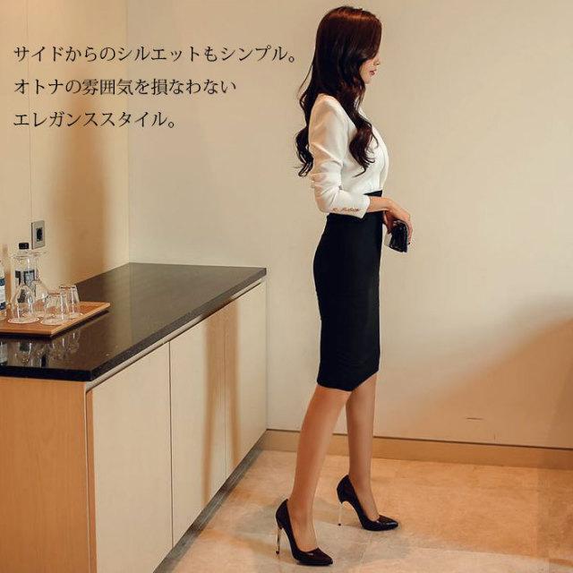 OL長袖ブラウス風タイトスカート仕立てバイカラーミディアムワンピース_白_黒