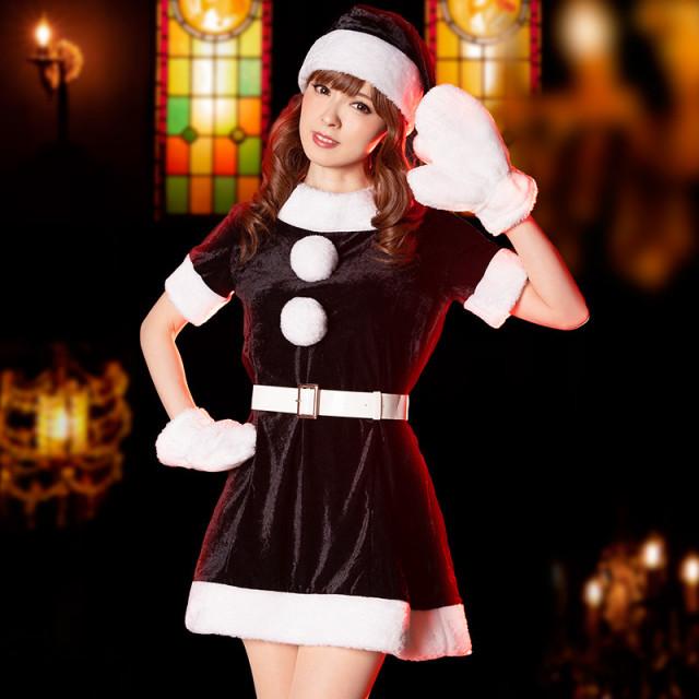 サンタコスプレ黒セクシーワンピースクリスマス衣装ブラックコス