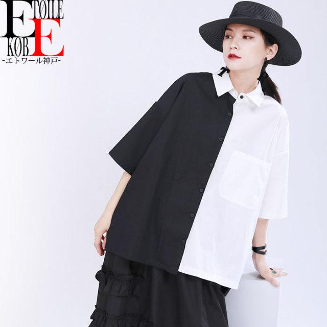縦割りモノトーン 襟付き五分袖ショート丈ブラウス 黒×白【j03md1-029】