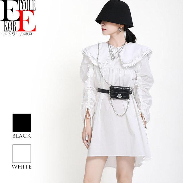 2層襟スタイル 長袖ショートゆったりワンピース 黒 白【j04md1-091】
