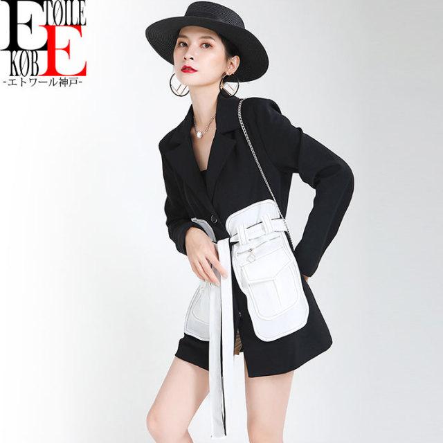 ウエストホワイト腰巻風ベルト  長袖セレカジジャケット 黒×白【j04md1-096】