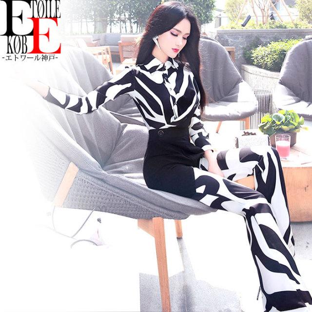 スレンダーロングパンツ カシュクールVネック襟 オールインワン 黒×白【j06vj1-309】