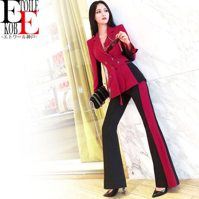 バイカラーロングパンツ 長袖ジャケット セットアップ スーツ 赤×黒【j06vj1-372】