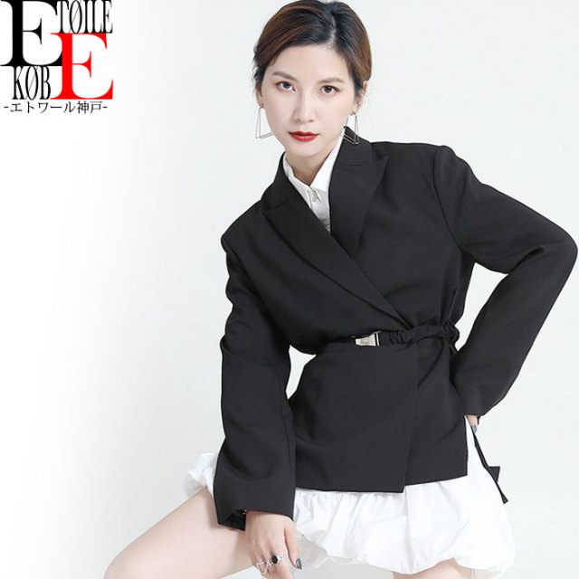 スタイリッシュライン ショート丈長袖ジャケット 黒【j09md16-087】