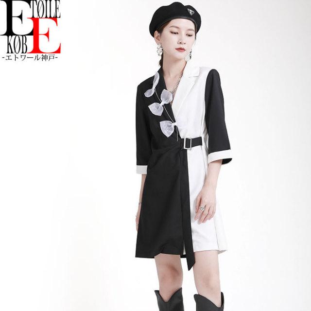 胸元リボン 縦バイカラー五分袖ショートワンピース 白×黒【j09md16-102】