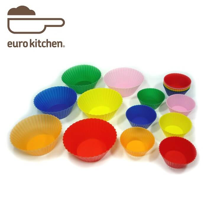 ユーロキッチン eurokitchen シリコンマフィンカップ小12+大6枚組 シリコン型 お弁当 仕切り