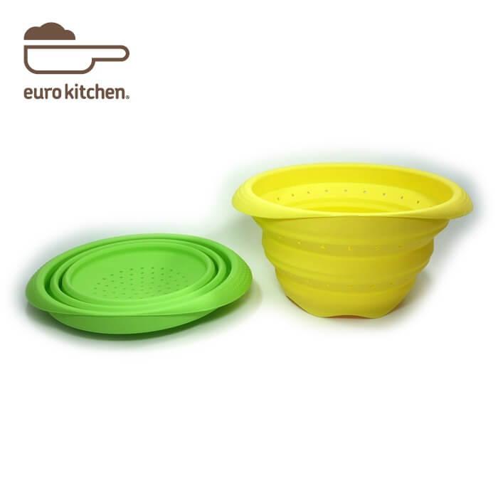 ユーロキッチン eurokitchen シリコン折りたたみ水切りボウル 水切り器