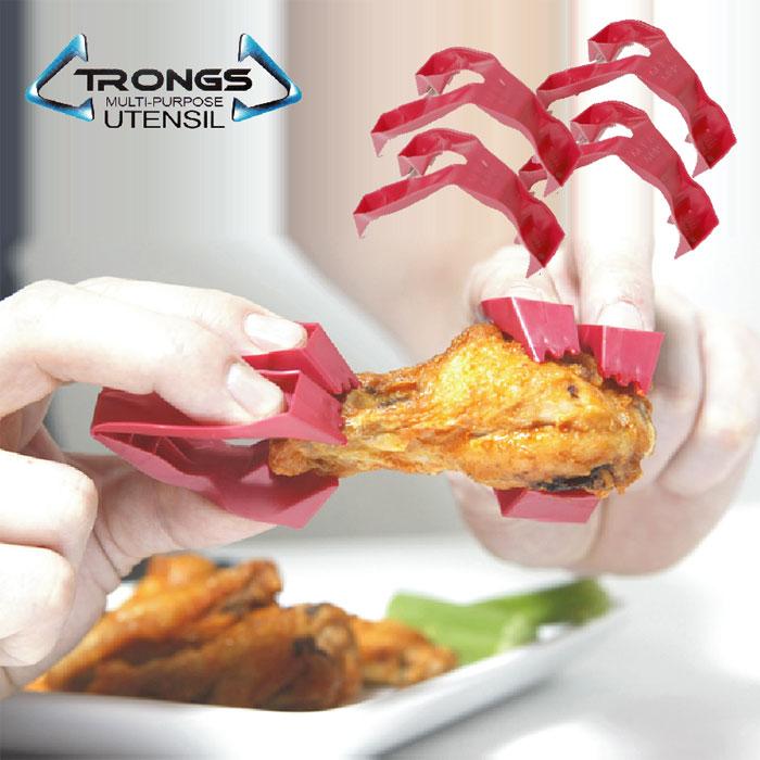 トロングス TRONGS (フィンガートング、ゆびさきトング) 赤い爪  4個セット【動画】