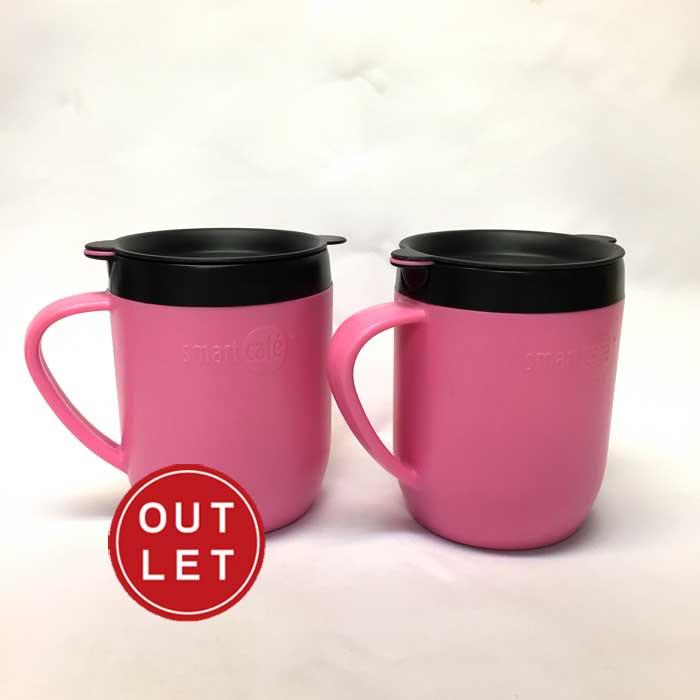 スマートカフェ SmartCafe ホットマグ ニ重マグカップ+コーヒーメーカー ピンク2個組【アウトレット】