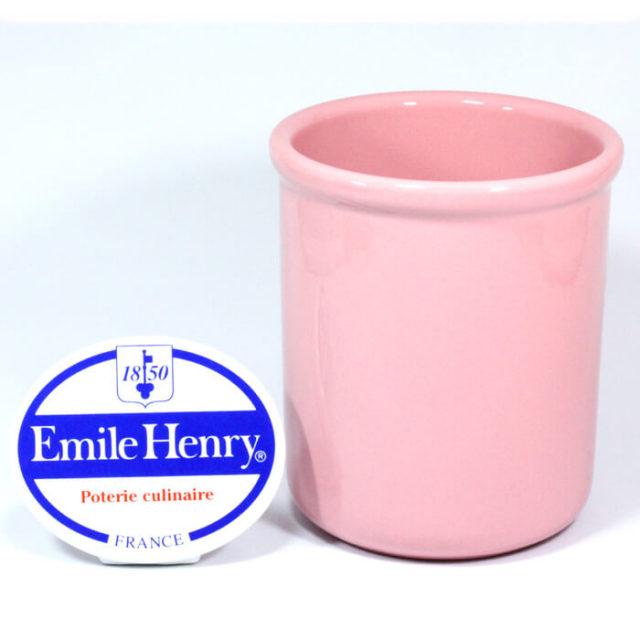 【完売】エミールアンリ Emile Henry. 陶器 ワインクーラー ユーテンシルホルダー 桃(ローズピンク)#8713