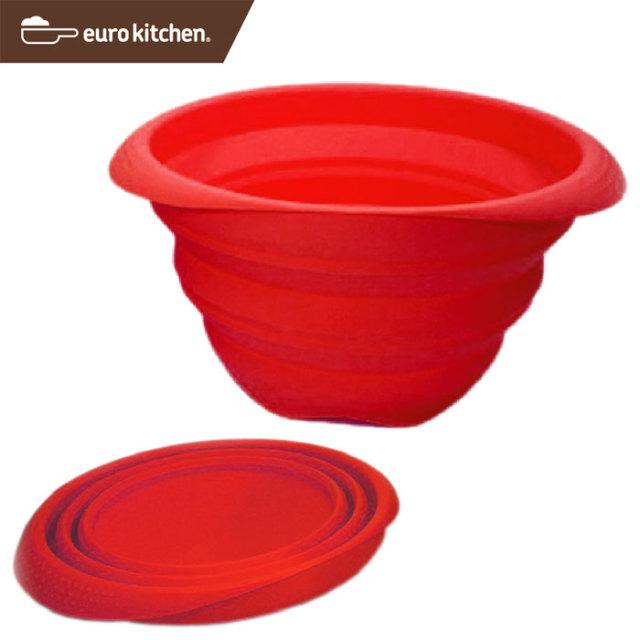 ユーロキッチン eurokitchen シリコーン折りたたみボウル 赤 1.6L silicone foldable bowl red