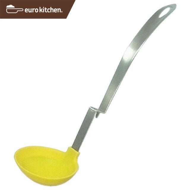 ユーロキッチン eurokitchen ステンレス柄シリコン腰掛お玉 黄色 PATENTED