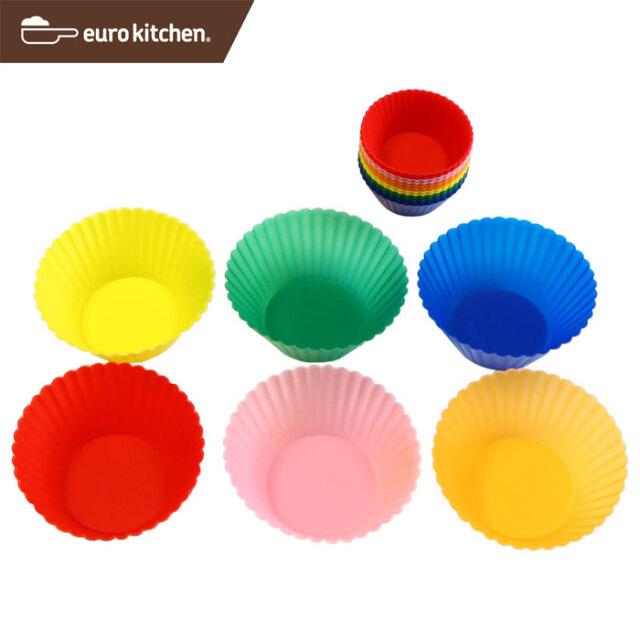ユーロキッチン eurokitchen シリコンマフィンカップ小12+大6枚組 シリコン型★お弁当の仕切りに★