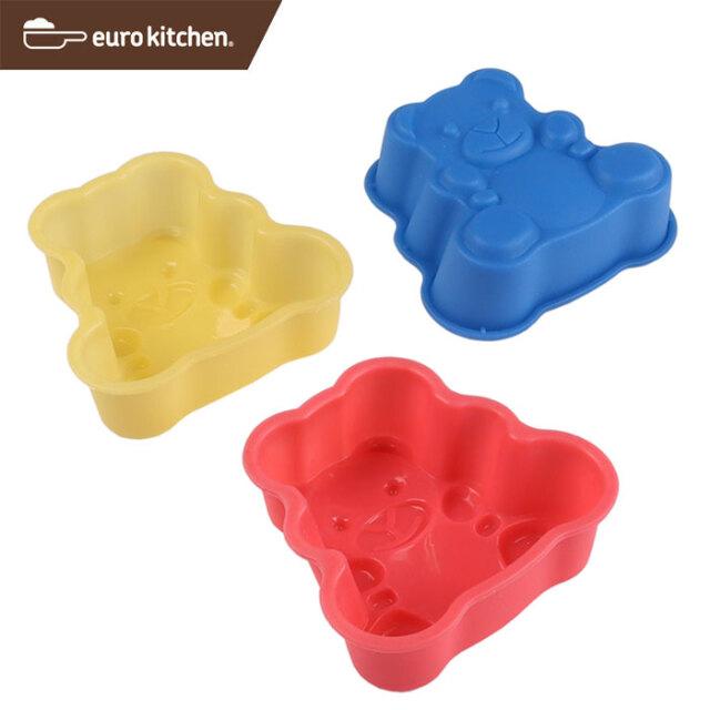 ユーロキッチン eurokitchen シリコンモールドミニ テディーベア 3点セット (赤、青、黄各1色入) ケーキ型