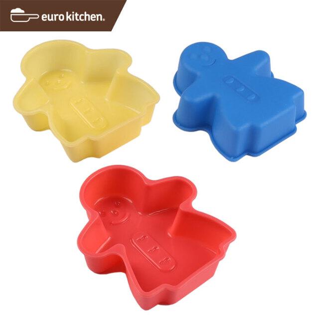ユーロキッチン eurokitchen シリコンモールドミニ ガール 3点セット(赤、青、黄各1色入) ケーキ型