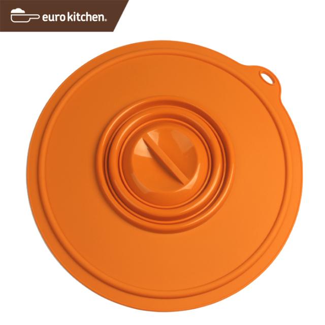 ユーロキッチン eurokitchen シリコンカバー 大 オレンジ(鍋蓋 落とし蓋 シリコン蓋 ビンオープナー)
