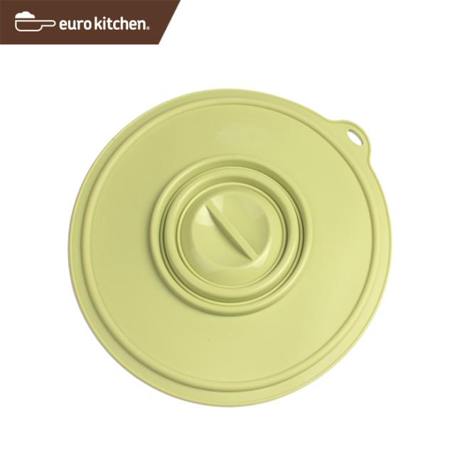 ユーロキッチン eurokitchen シリコンカバー 中 パステルグリーン(鍋蓋 落とし蓋 シリコン蓋 ビンオープナー)