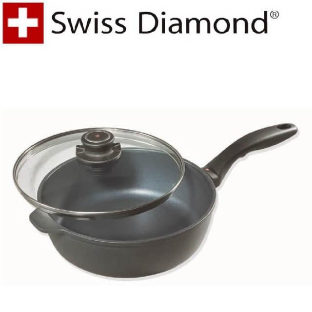 【完売】スイスダイヤモンド SwissDiamond #6724IH蓋付深型フライパン24cm【IH】【送料無料】【アウトレット・訳あり特価品】