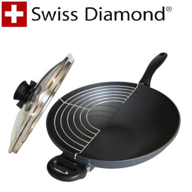 【完売】スイスダイヤモンド SwissDiamond #61132蓋付中華鍋32cm【送料無料】【アウトレット・訳あり特価品】