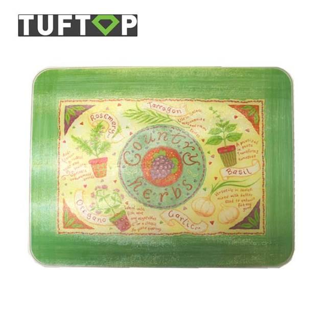 タフトップ TUFTOP ガラスまな板 『カントリー』 大【約40×50cm】【四角】カントリーハーブ
