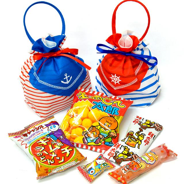 kta-087 ラッピング袋入りお菓子詰め合わせ サマーリボンバッグ 1個 (取合せ/詰め合せ/詰合せ)