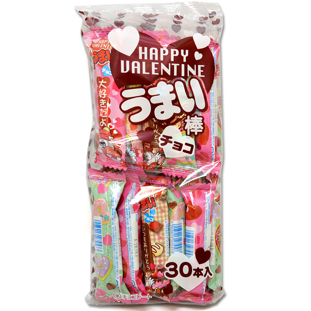 sun-01val うまい棒 ハッピーバレンタインチョコ 10円 30入【駄菓子】