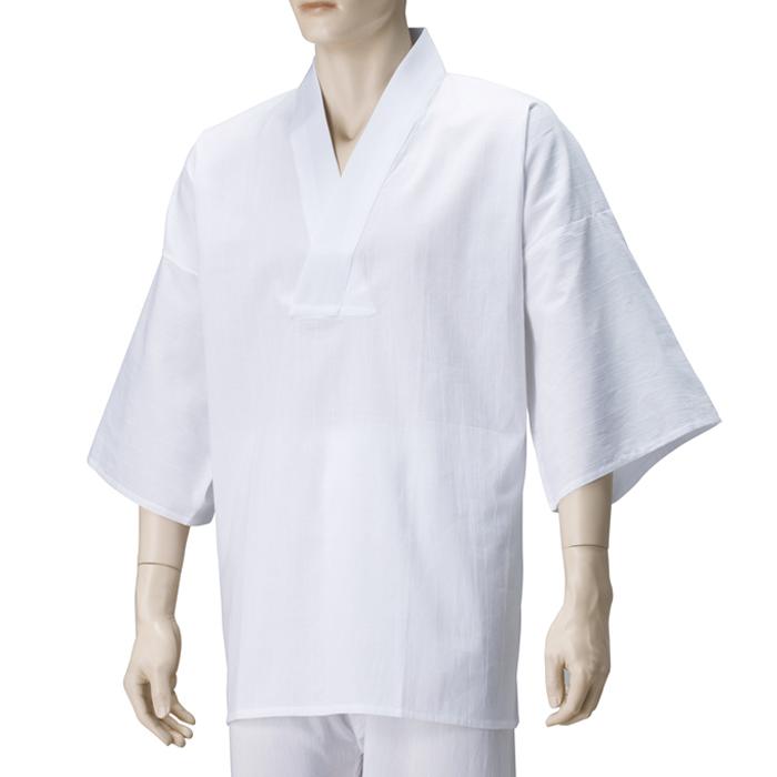 紳士Vネック筒袖半襦袢 快適繊維光電子ストライプさらし