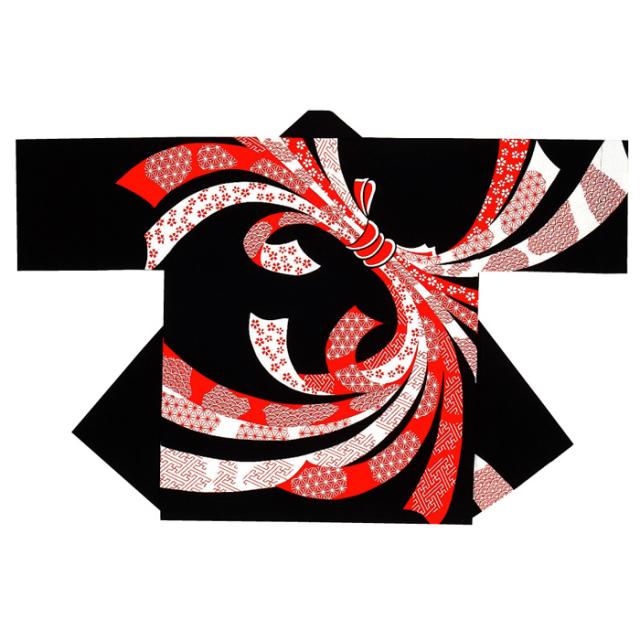 半纏(はんてん・法被・はっぴ) 黒地のしめ柄