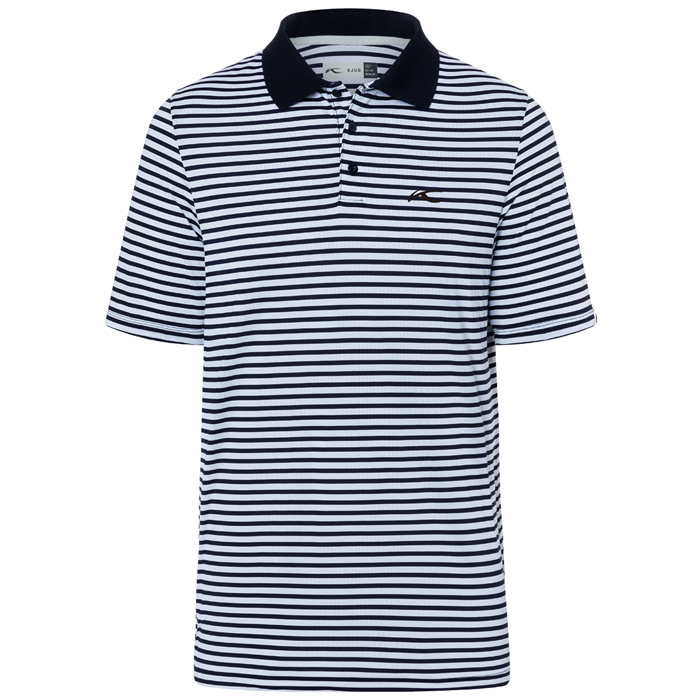 KJUS MEN LUIS STRIPE POLO  WHITE/NIGHT BLUE