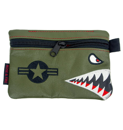 "Rose&Fire ""Bomber/Warhawk"" Premium Leather Zippered Valuables Pouch"