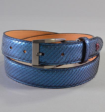 HOMMON  パイソン革ベルト サイド ブルー/ビター