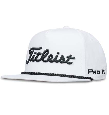 2018 Titleist Tour Rope Flat Bill Cap White/Black