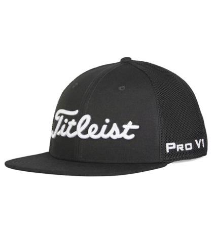 2020 Titleist Tour Flat Bill Mesh Cap Black/White