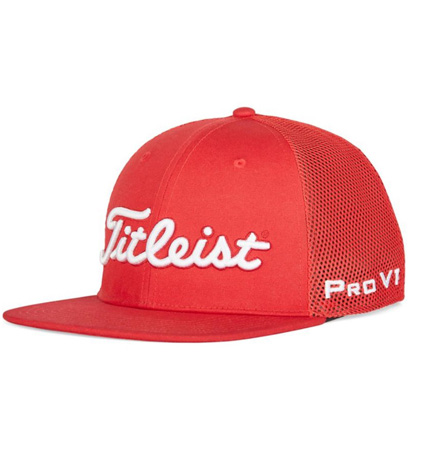2020 Titleist Tour Flat Bill Mesh Cap Red/White