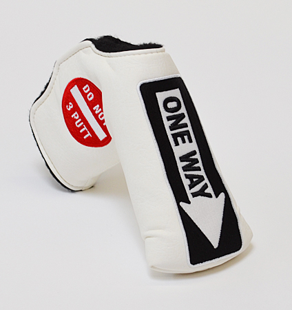 AM&E One Way x Do Not 3Putt Putter Cover Snap-Fit for Standard White