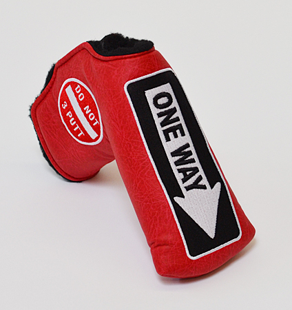 AM&E One Way x Do Not 3Putt Putter Cover Snap-Fit for Standard Berry