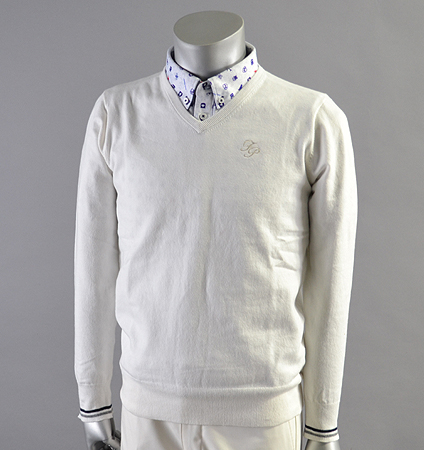 Fairy Powder FP18-1101 Stretch V-Neck Sweater White