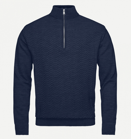 KJUS MEN LINARD KNIT MIDLAYER HZ Navy