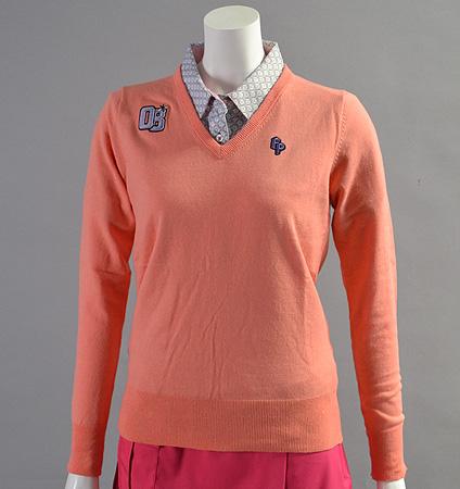 2017 Fairy Powder FP17-6104 Women's Stretch Cotton V-Neck Sweater Pink