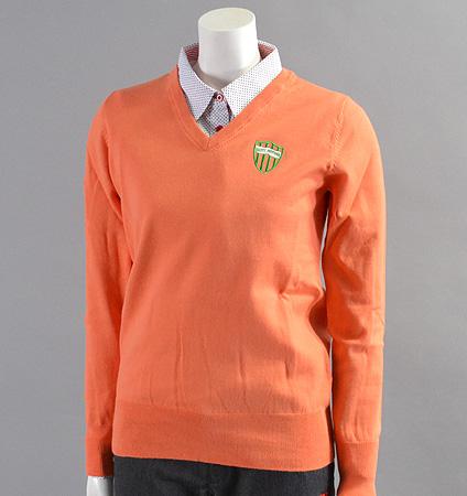 2017 Fairy Powder FP17-2100 Women's Stretch Cotton V-Neck Sweater Orange