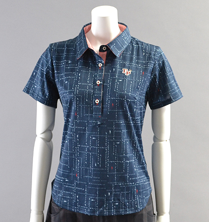2018 Fairy Powder FP18-2111 FP Logo Check Print Polo Navy