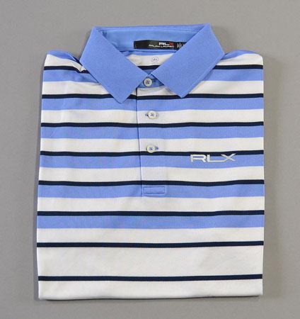 RLX Lightweight Stripe Polo White/Light Blue
